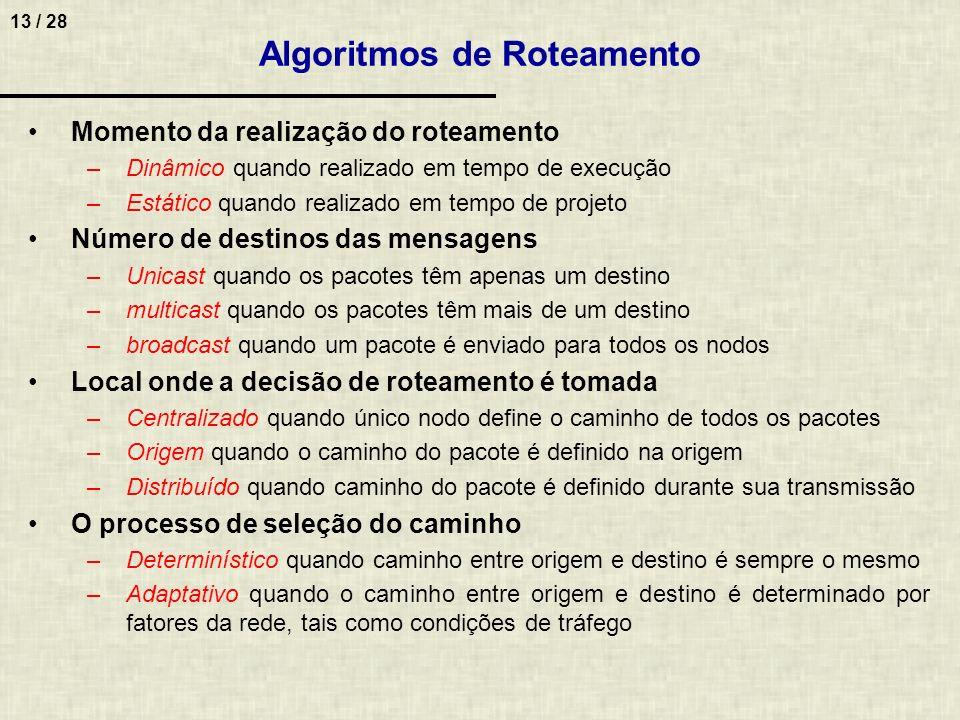 13 / 28 Algoritmos de Roteamento Momento da realização do roteamento –Dinâmico quando realizado em tempo de execução –Estático quando realizado em tem