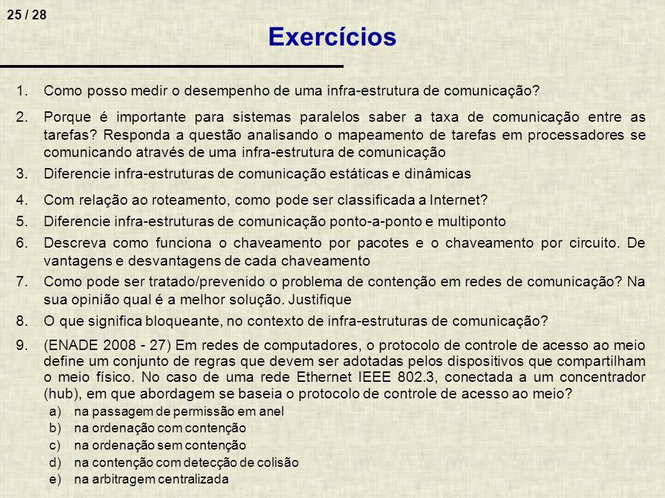 25 / 28 Exercícios 1.Como posso medir o desempenho de uma infra-estrutura de comunicação? 2.Porque é importante para sistemas paralelos saber a taxa d