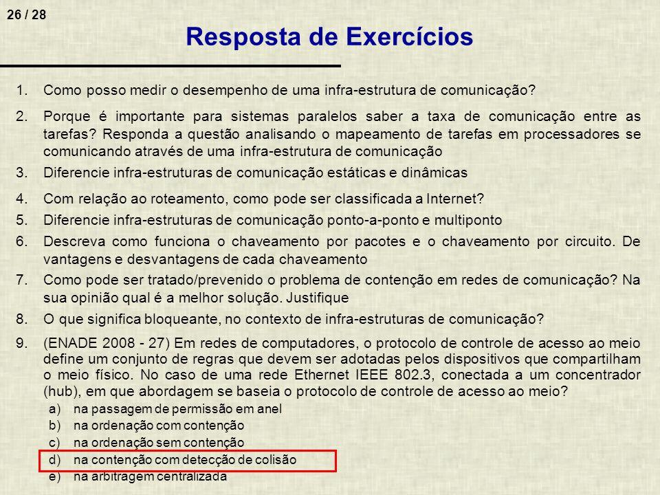 26 / 28 Resposta de Exercícios 1.Como posso medir o desempenho de uma infra-estrutura de comunicação? 2.Porque é importante para sistemas paralelos sa