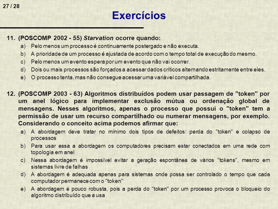 27 / 28 Exercícios 11.(POSCOMP 2002 - 55) Starvation ocorre quando: a)Pelo menos um processo é continuamente postergado e não executa. b)A prioridade