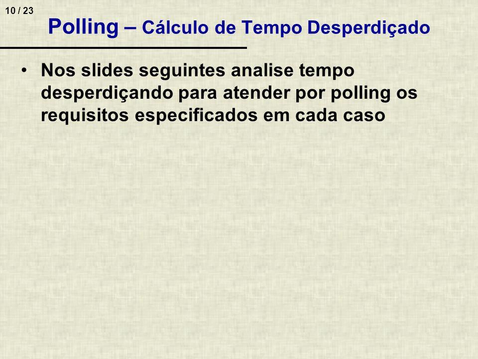 10 / 23 Polling – Cálculo de Tempo Desperdiçado Nos slides seguintes analise tempo desperdiçando para atender por polling os requisitos especificados