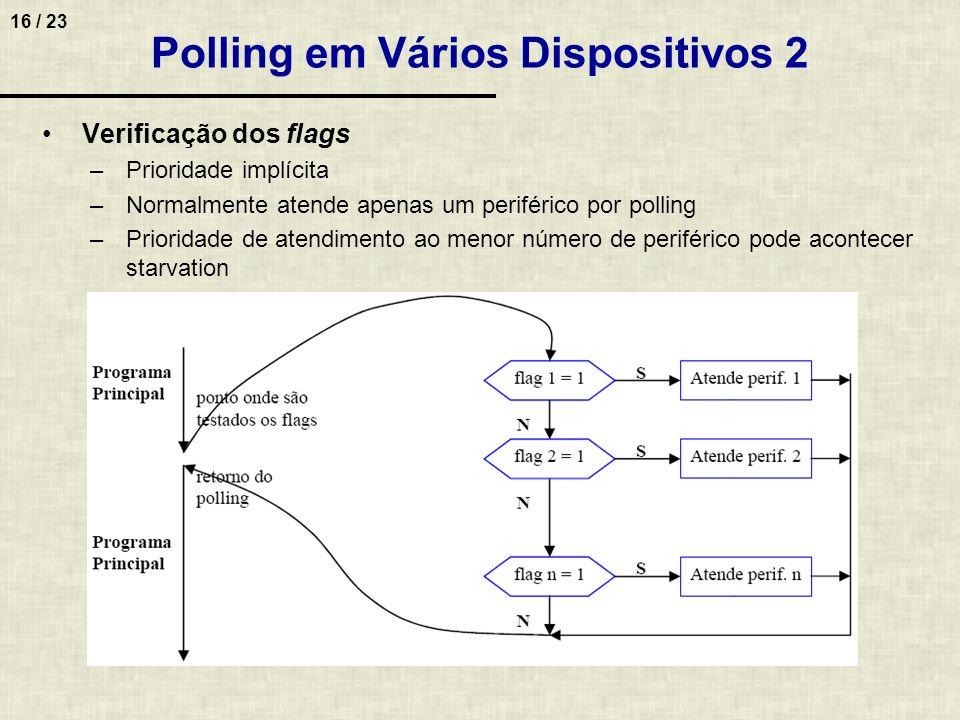 16 / 23 Polling em Vários Dispositivos 2 Verificação dos flags –Prioridade implícita –Normalmente atende apenas um periférico por polling –Prioridade