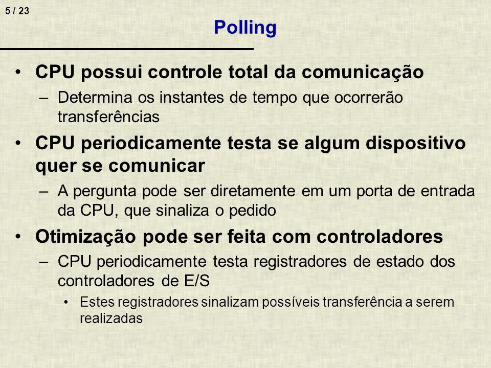 5 / 23 Polling CPU possui controle total da comunicação –Determina os instantes de tempo que ocorrerão transferências CPU periodicamente testa se algu