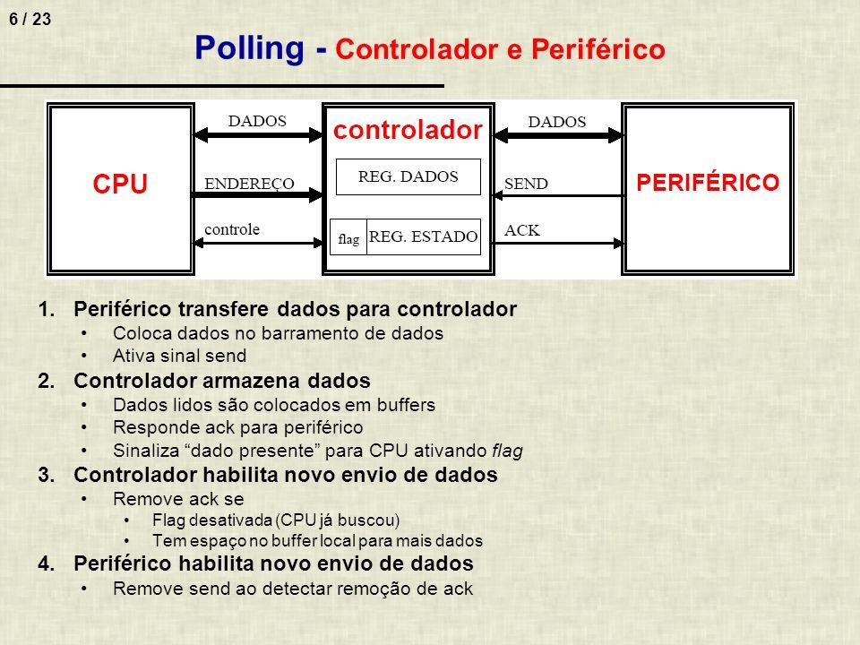 6 / 23 Polling - Controlador e Periférico 1.Periférico transfere dados para controlador Coloca dados no barramento de dados Ativa sinal send 2.Control