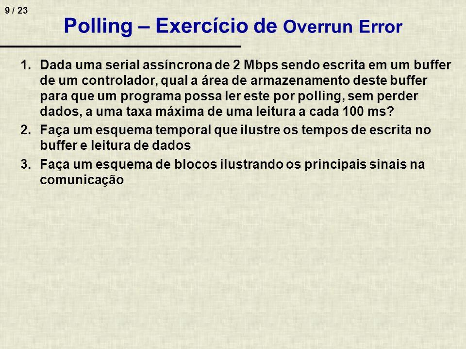 9 / 23 Polling – Exercício de Overrun Error 1.Dada uma serial assíncrona de 2 Mbps sendo escrita em um buffer de um controlador, qual a área de armaze