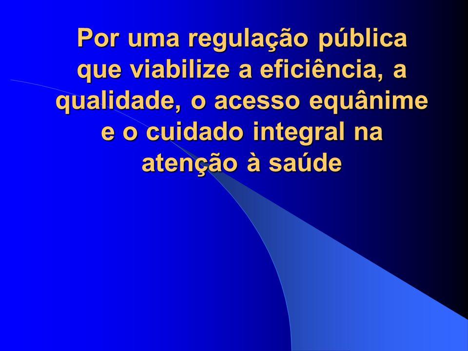 Regulação no setor estatal da Saúde no Brasil Conceito e compreensão não uniformes Regulação como: ato de regulamentar, de elaborar as regras controle da oferta e demanda por meio de fluxos, protocolos assistenciais, centrais de leitos, consultas e exames regulamentação, fiscalização e controle da produção de bens e serviços em setores da economia, incluindo a Saúde