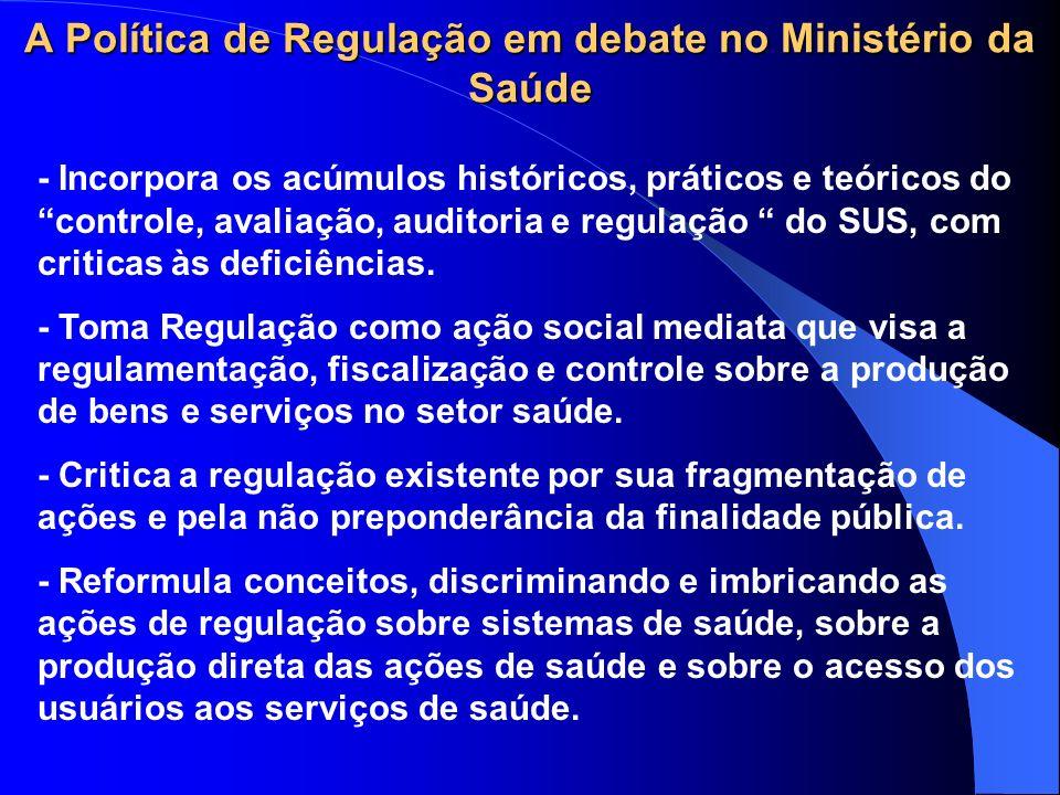 A Política de Regulação em debate no Ministério da Saúde - Incorpora os acúmulos históricos, práticos e teóricos do controle, avaliação, auditoria e regulação do SUS, com criticas às deficiências.
