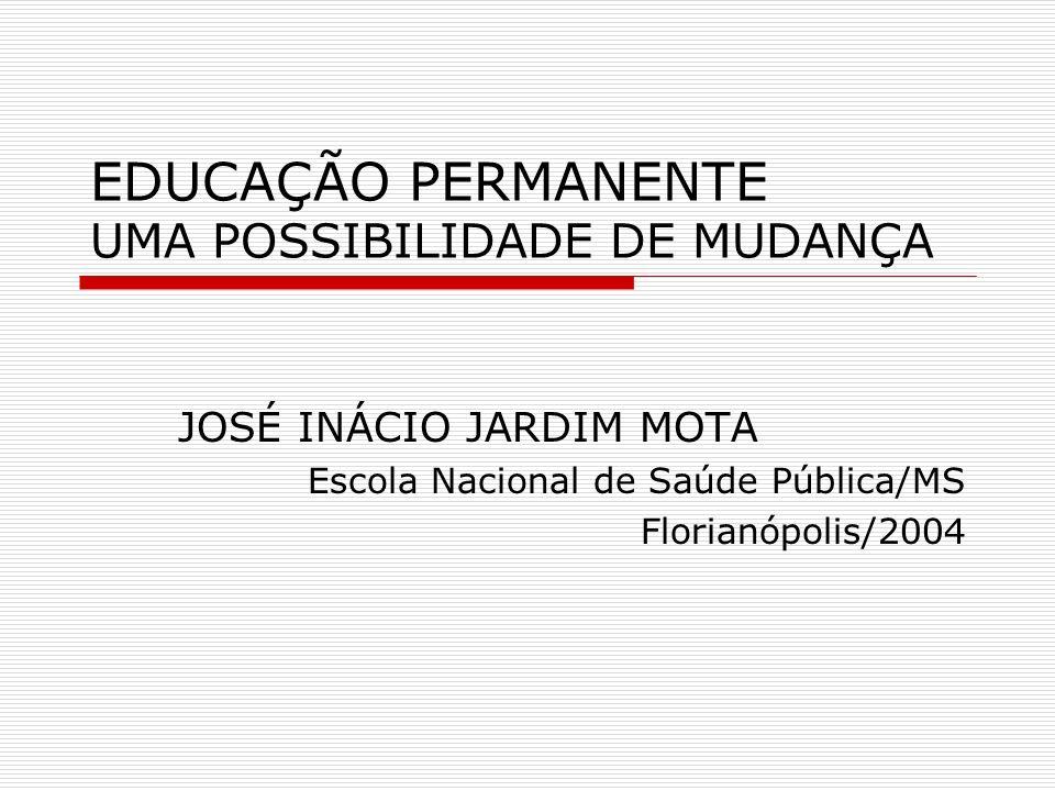 EQUIPES INSTITUCIONALIDADE DIFERENTES SABERES INFORMAM UMA PRÁTICA MATRIZ EXPLICATIVA DO PROCESSO SAÚDE-DOENÇA EDUCAÇÃO PERMANENTE PROCESSO DE TRABALHO ORGANIZAÇÃO DO TRABALHO ORGANIZAÇÃO QUE APRENDE GESTÃO DO CONHECIMENTO PROBLEMAS E NECESSIDADES DE NATUREZA PEDAGÓGICA METODOLOGIAS ATIVAS (Motta, 2003)