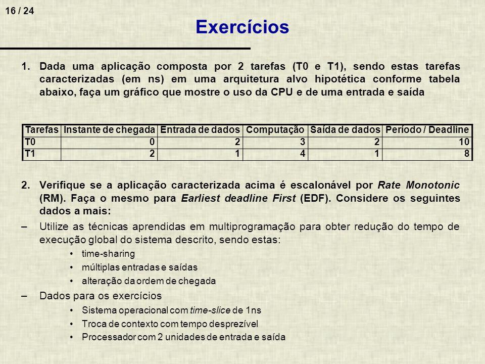 16 / 24 1.Dada uma aplicação composta por 2 tarefas (T0 e T1), sendo estas tarefas caracterizadas (em ns) em uma arquitetura alvo hipotética conforme