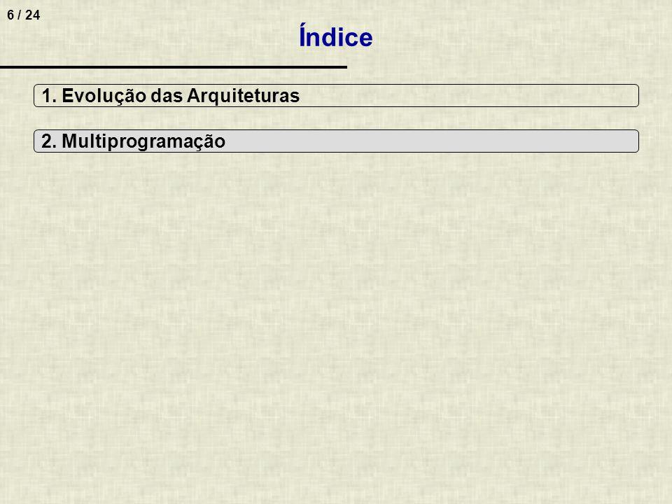 6 / 24 Índice 1. Evolução das Arquiteturas 2. Multiprogramação