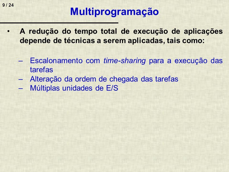 9 / 24 Multiprogramação A redução do tempo total de execução de aplicações depende de técnicas a serem aplicadas, tais como: –Escalonamento com time-s