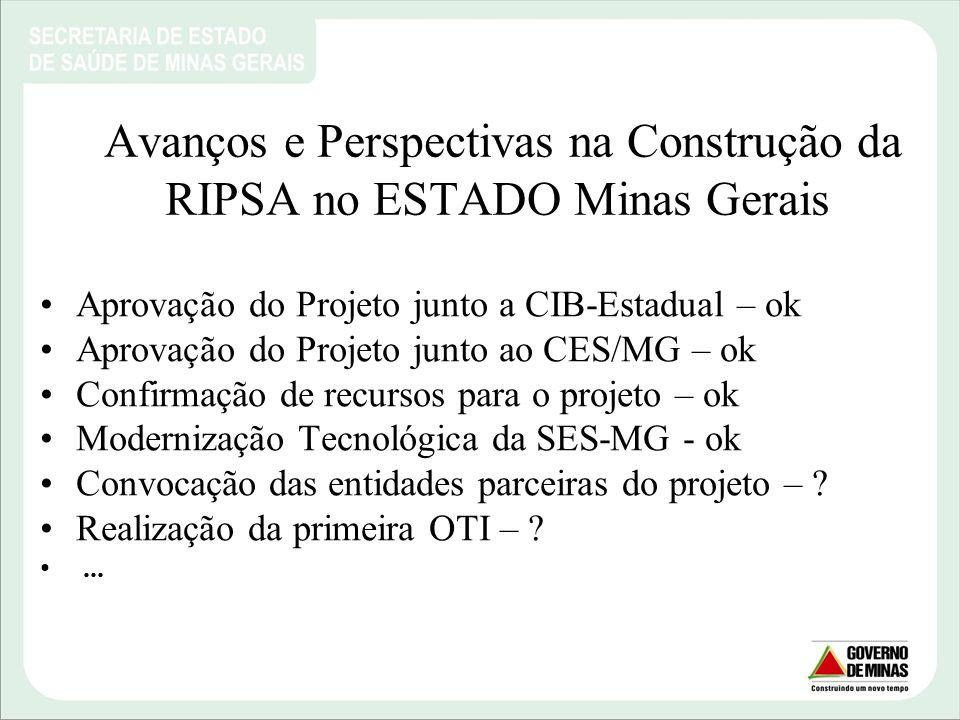 Avanços e Perspectivas na Construção da RIPSA no ESTADO Minas Gerais Aprovação do Projeto junto a CIB-Estadual – ok Aprovação do Projeto junto ao CES/