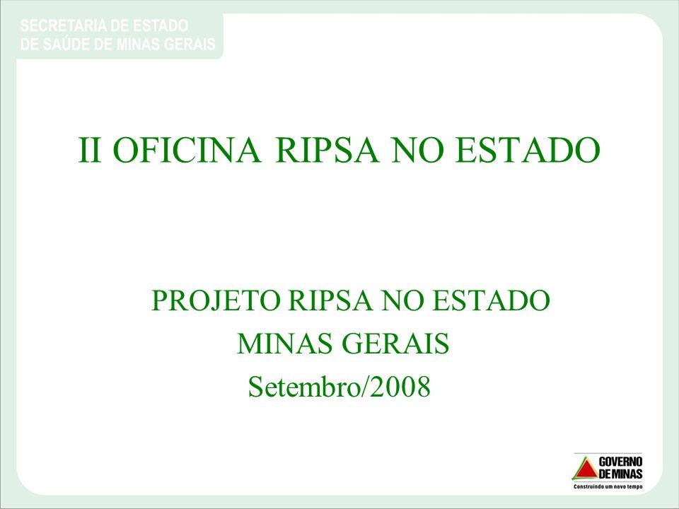 RIPSA NO ESTADO MINAS GERAIS Equipe: Keliane Cunha Teixeira (COSEMS-MG); Lucas Rodrigues Castro (SES-MG); Perisson Sanguinette Meirelles (SES-MG); Salete Maria Novais Diniz (SES-MG); Vicente Augusto Jau (SES-MG).