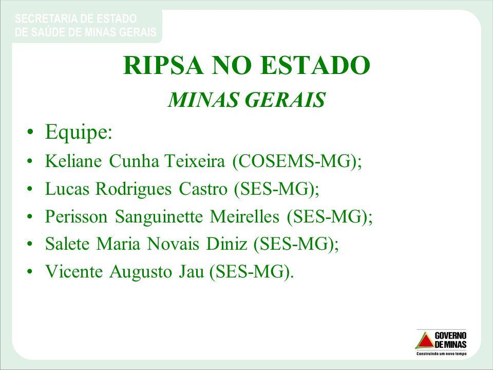 RIPSA NO ESTADO MINAS GERAIS Equipe: Keliane Cunha Teixeira (COSEMS-MG); Lucas Rodrigues Castro (SES-MG); Perisson Sanguinette Meirelles (SES-MG); Sal