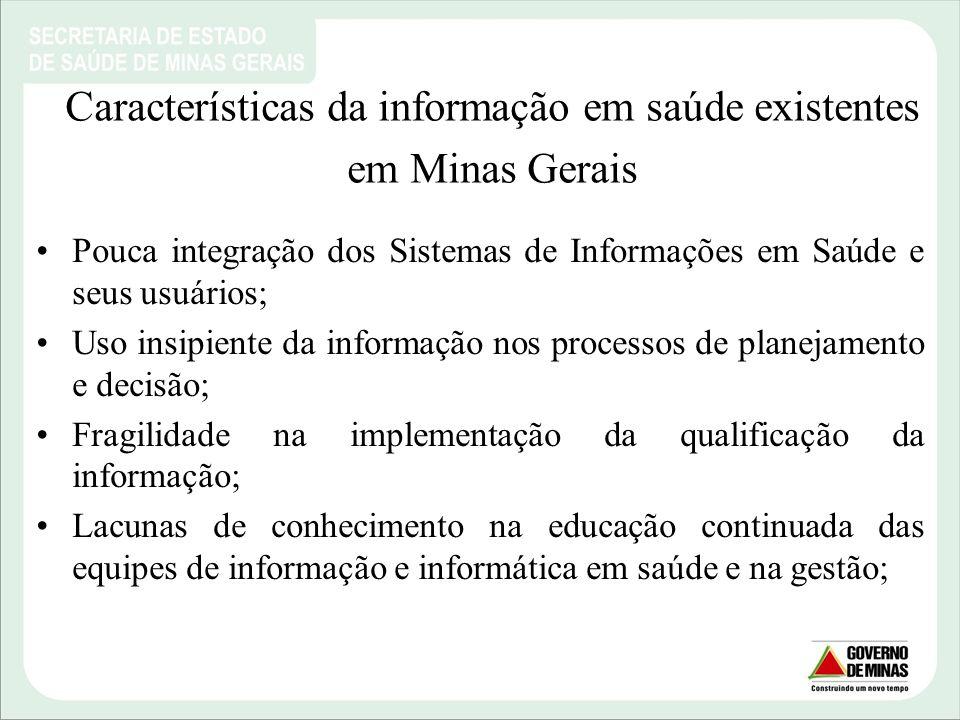 Características da informação em saúde existentes em Minas Gerais Pouca integração dos Sistemas de Informações em Saúde e seus usuários; Uso insipient