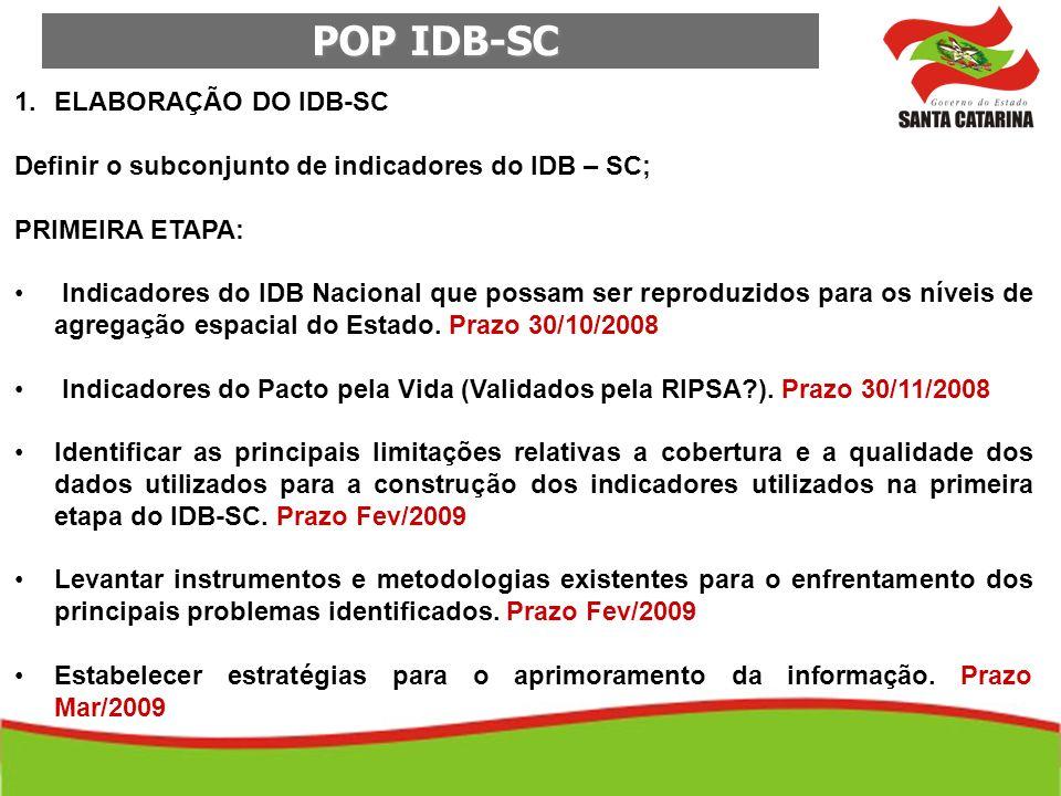 POP IDB-SC POP IDB-SC 1.ELABORAÇÃO DO IDB-SC Definir o subconjunto de indicadores do IDB – SC; PRIMEIRA ETAPA: Indicadores do IDB Nacional que possam
