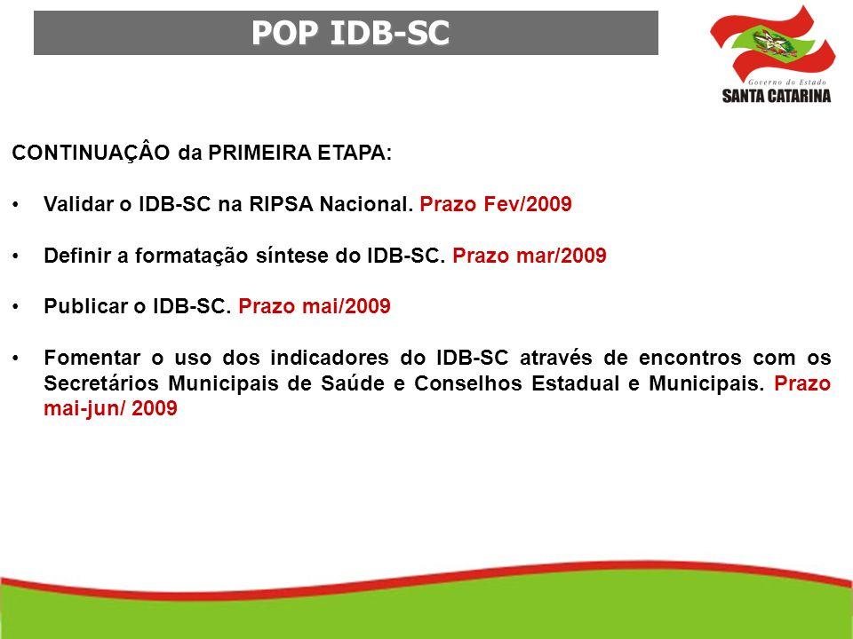 POP IDB-SC POP IDB-SC CONTINUAÇÂO da PRIMEIRA ETAPA: Validar o IDB-SC na RIPSA Nacional. Prazo Fev/2009 Definir a formatação síntese do IDB-SC. Prazo