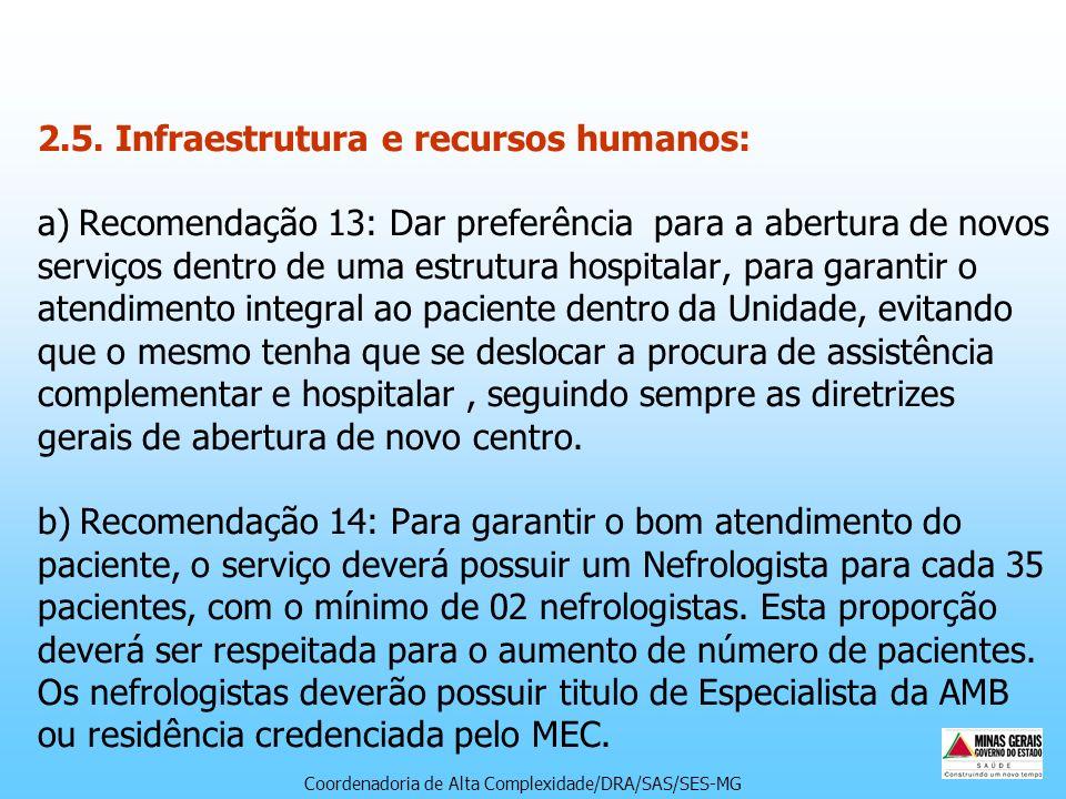 2.5. Infraestrutura e recursos humanos: a) Recomendação 13: Dar preferência para a abertura de novos serviços dentro de uma estrutura hospitalar, para