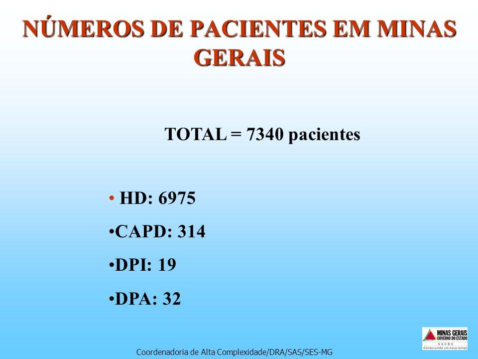 NÚMEROS DE PACIENTES EM MINAS GERAIS TOTAL = 7340 pacientes HD: 6975 CAPD: 314 DPI: 19 DPA: 32 Coordenadoria de Alta Complexidade/DRA/SAS/SES-MG