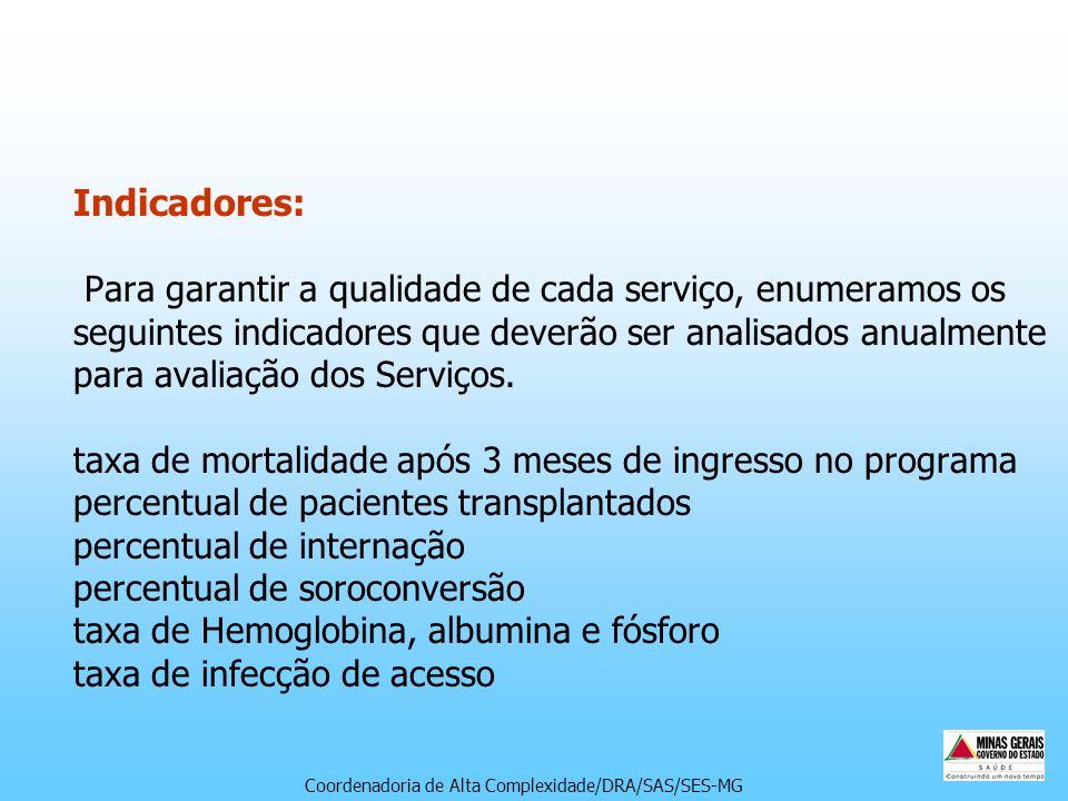 Indicadores: Para garantir a qualidade de cada serviço, enumeramos os seguintes indicadores que deverão ser analisados anualmente para avaliação dos S