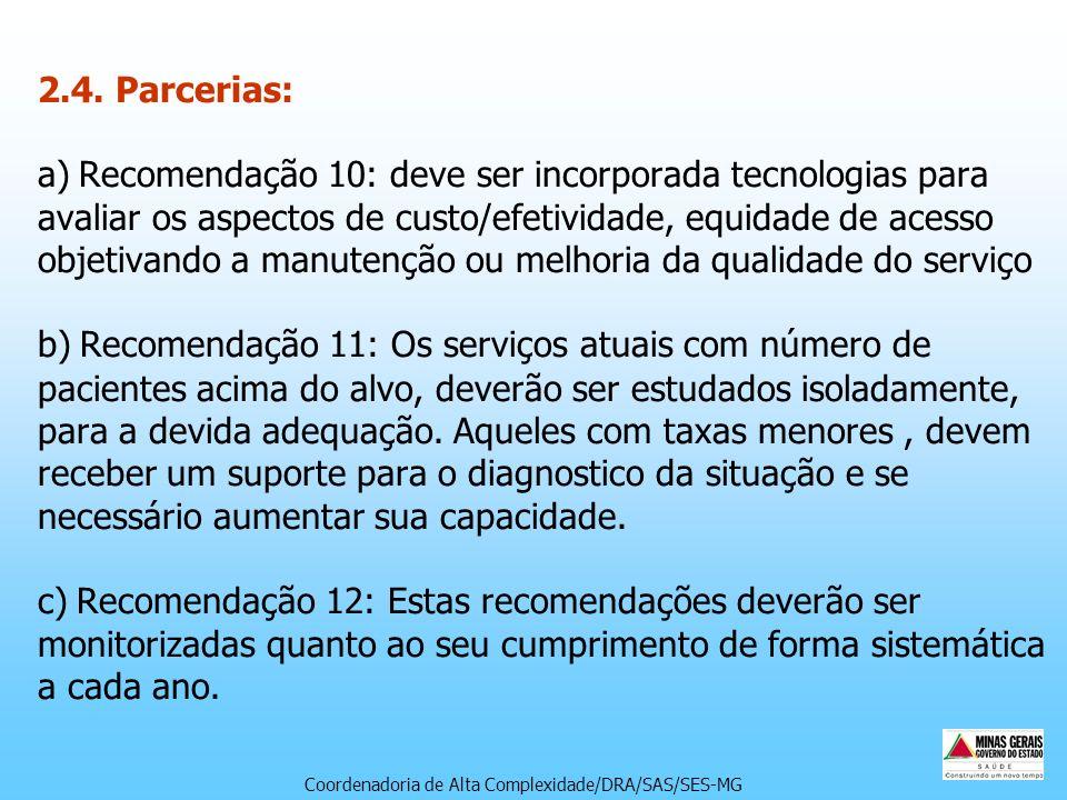 2.4. Parcerias: a) Recomendação 10: deve ser incorporada tecnologias para avaliar os aspectos de custo/efetividade, equidade de acesso objetivando a m