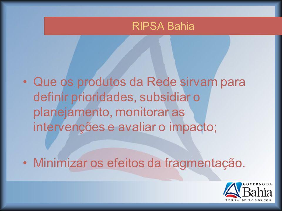 RIPSA Bahia Que os produtos da Rede sirvam para definir prioridades, subsidiar o planejamento, monitorar as intervenções e avaliar o impacto; Minimizar os efeitos da fragmentação.