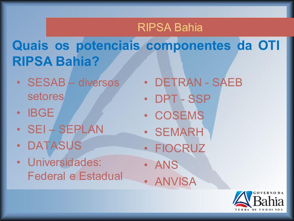 RIPSA Bahia Quais os potenciais componentes da OTI RIPSA Bahia.