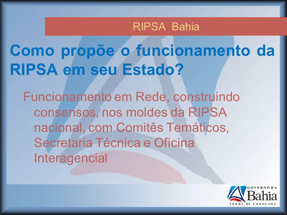 RIPSA Bahia Como propõe o funcionamento da RIPSA em seu Estado.