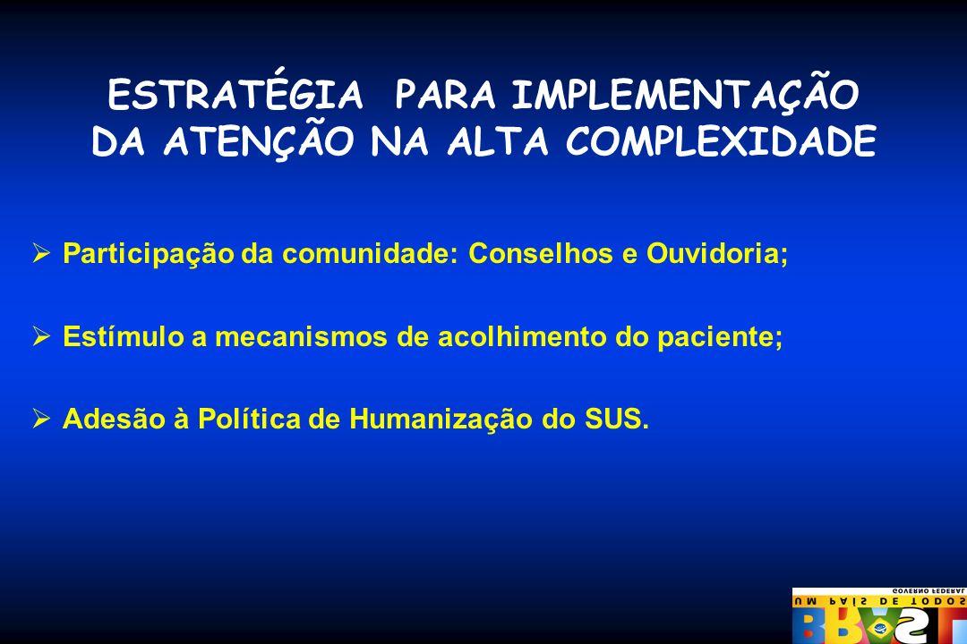 ESTRATÉGIA PARA IMPLEMENTAÇÃO DA ATENÇÃO NA ALTA COMPLEXIDADE Participação da comunidade: Conselhos e Ouvidoria; Estímulo a mecanismos de acolhimento