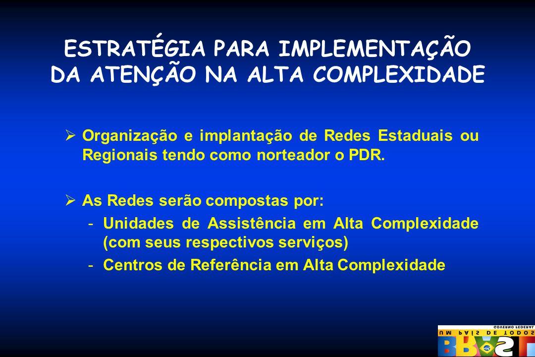 ESTRATÉGIA PARA IMPLEMENTAÇÃO DA ATENÇÃO NA ALTA COMPLEXIDADE Organização e implantação de Redes Estaduais ou Regionais tendo como norteador o PDR. As