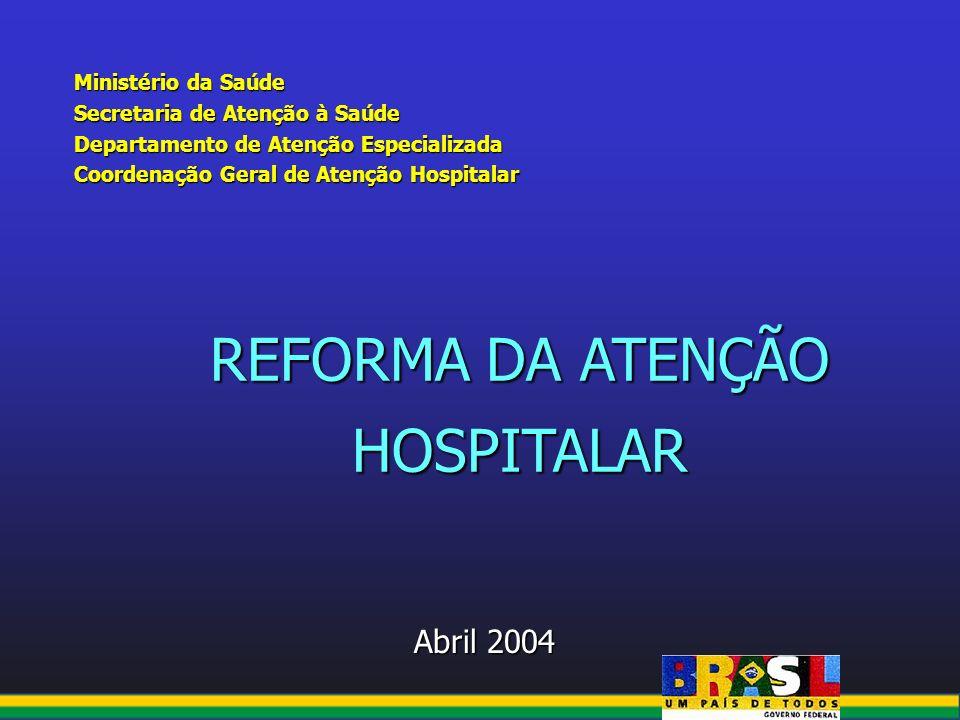 Ministério da Saúde Secretaria de Atenção à Saúde Departamento de Atenção Especializada Coordenação Geral de Atenção Hospitalar Abril 2004 Abril 2004