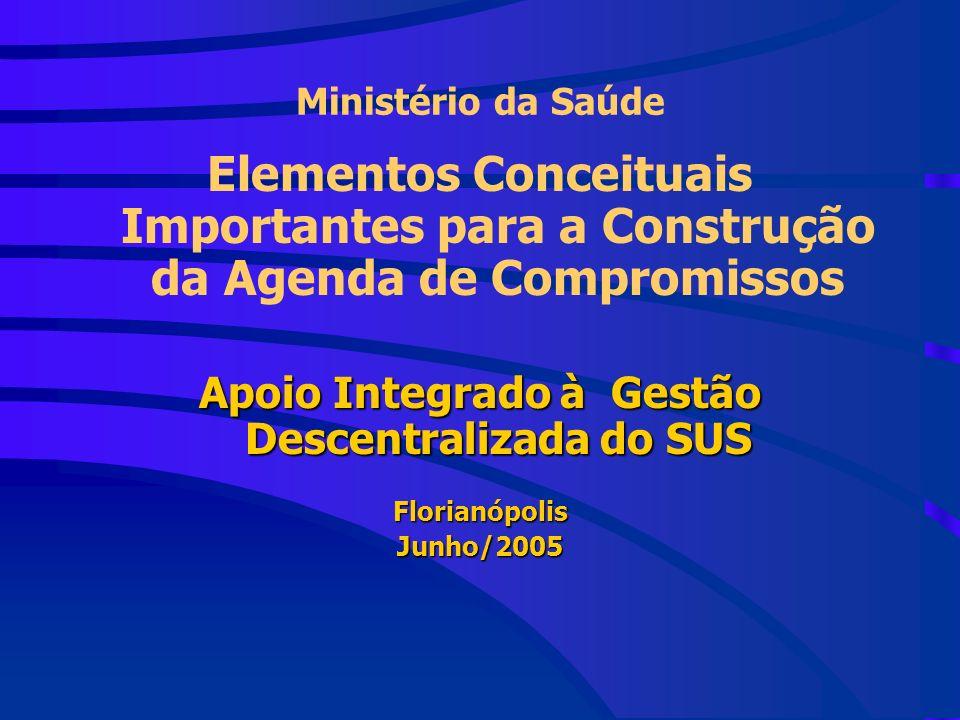 Ministério da Saúde Elementos Conceituais Importantes para a Construção da Agenda de Compromissos Apoio Integrado à Gestão Descentralizada do SUS FlorianópolisJunho/2005