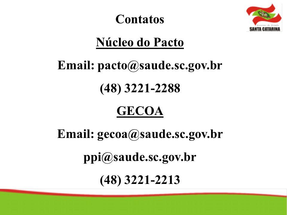 Contatos Núcleo do Pacto Email: pacto@saude.sc.gov.br (48) 3221-2288 GECOA Email: gecoa@saude.sc.gov.br ppi@saude.sc.gov.br (48) 3221-2213