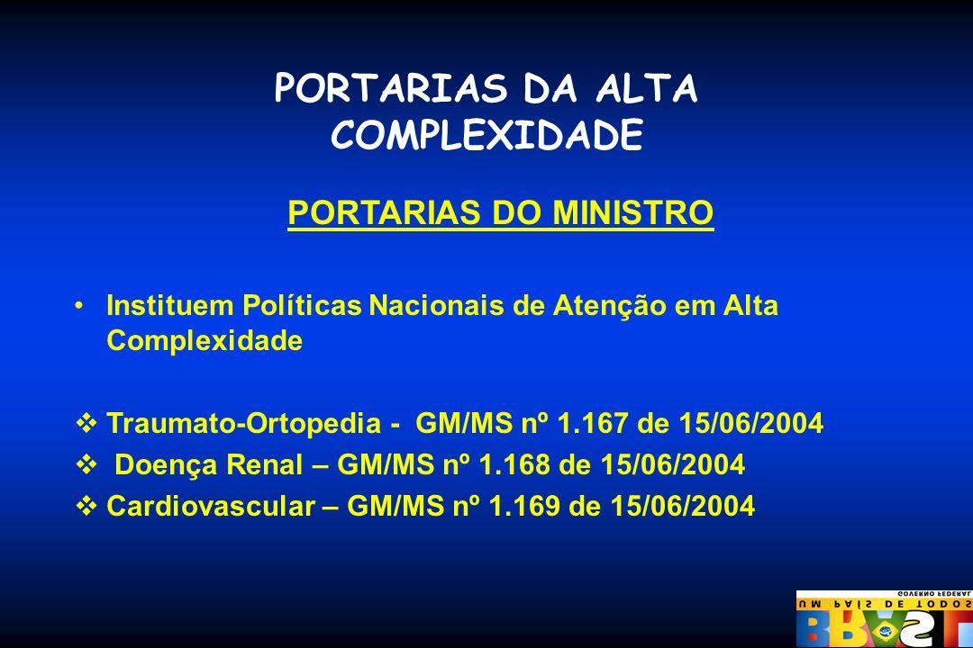 PORTARIAS DA ALTA COMPLEXIDADE PORTARIAS DO MINISTRO Instituem Políticas Nacionais de Atenção em Alta Complexidade Traumato-Ortopedia - GM/MS nº 1.167