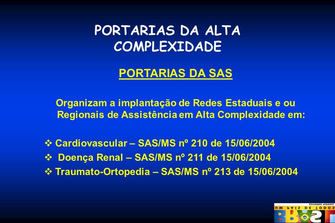 PORTARIAS DA ALTA COMPLEXIDADE PORTARIAS DA SAS Organizam a implantação de Redes Estaduais e ou Regionais de Assistência em Alta Complexidade em: Card