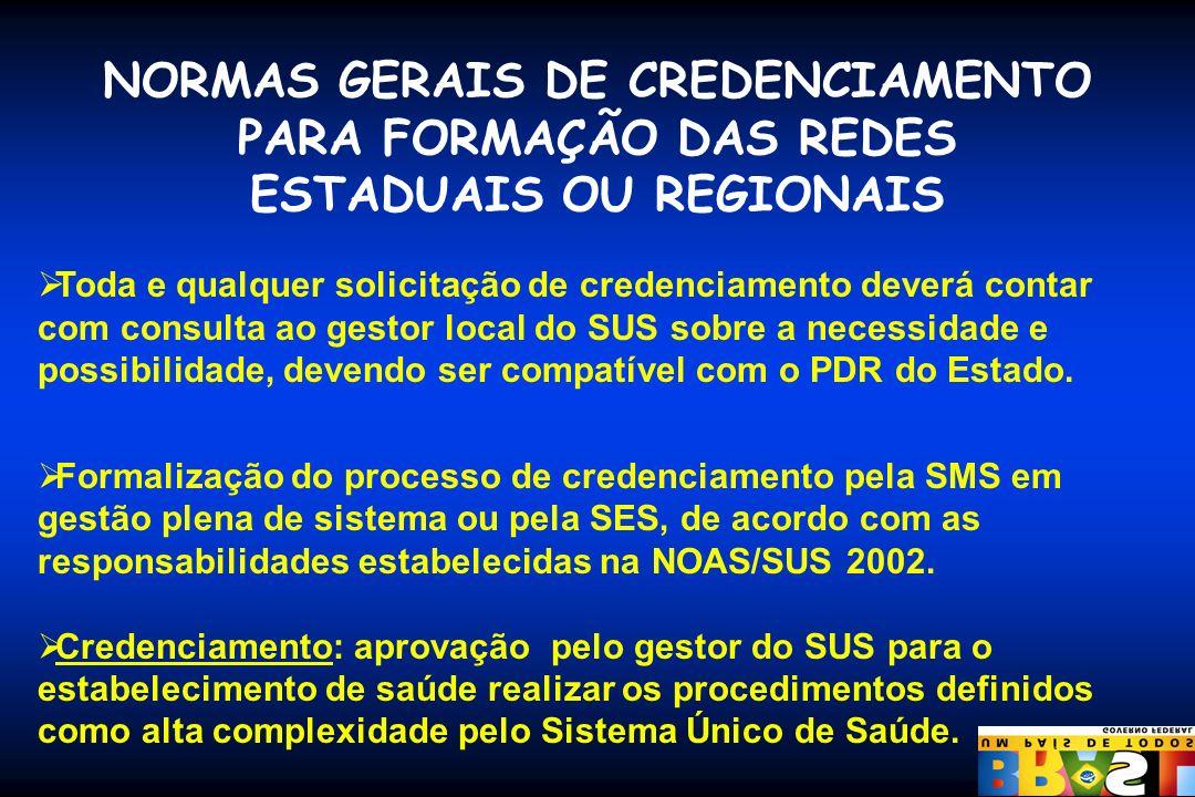 NORMAS GERAIS DE CREDENCIAMENTO PARA FORMAÇÃO DAS REDES ESTADUAIS OU REGIONAIS Toda e qualquer solicitação de credenciamento deverá contar com consult
