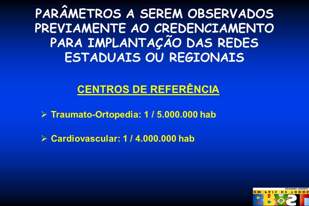 PARÂMETROS A SEREM OBSERVADOS PREVIAMENTE AO CREDENCIAMENTO PARA IMPLANTAÇÃO DAS REDES ESTADUAIS OU REGIONAIS CENTROS DE REFERÊNCIA Traumato-Ortopedia