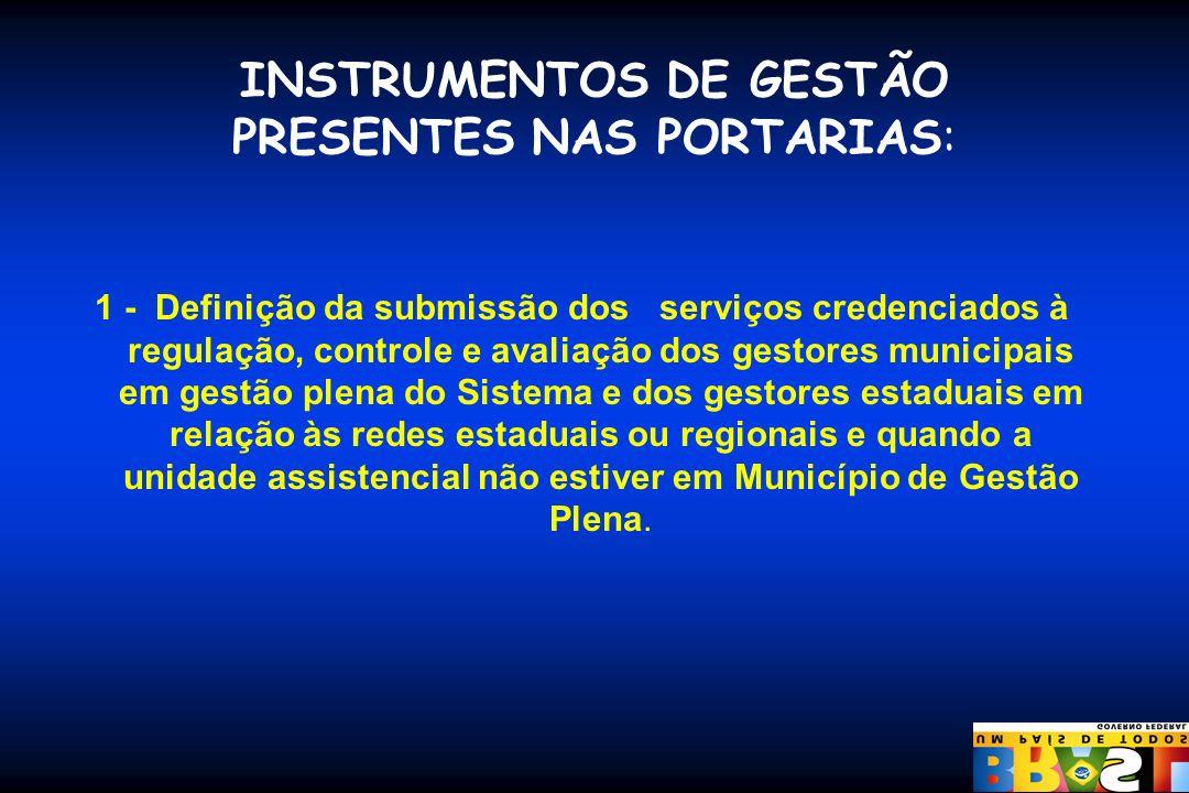 INSTRUMENTOS DE GESTÃO PRESENTES NAS PORTARIAS: 1 - Definição da submissão dos serviços credenciados à regulação, controle e avaliação dos gestores mu
