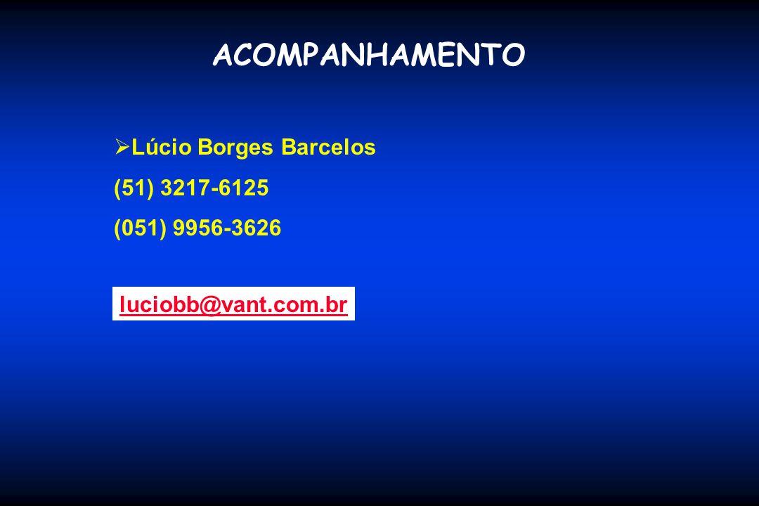 ACOMPANHAMENTO Lúcio Borges Barcelos (51) 3217-6125 (051) 9956-3626 luciobb@vant.com.br