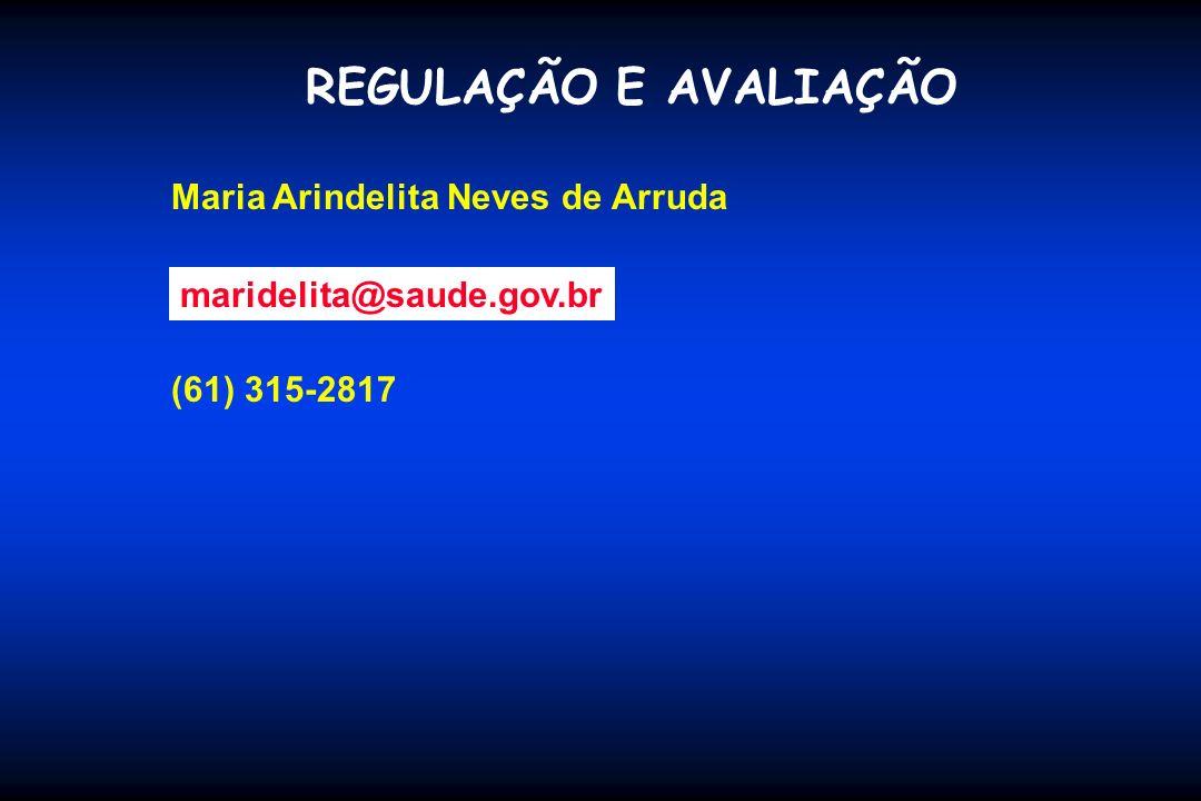 REGULAÇÃO E AVALIAÇÃO Maria Arindelita Neves de Arruda (61) 315-2817 maridelita@saude.gov.br