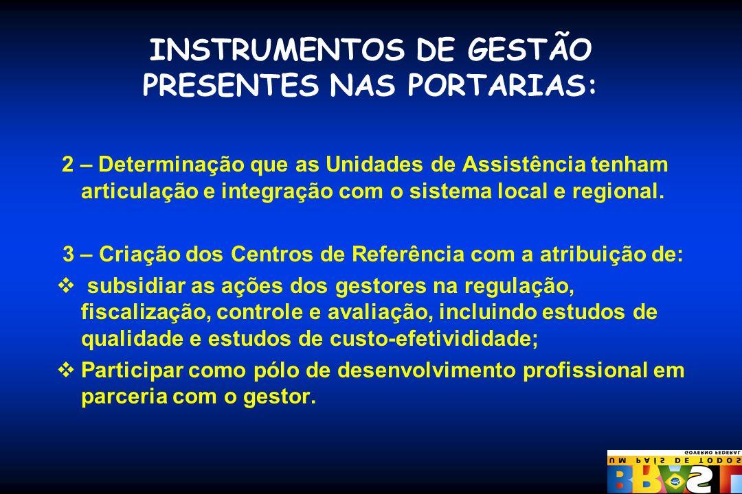 INSTRUMENTOS DE GESTÃO PRESENTES NAS PORTARIAS: 2 – Determinação que as Unidades de Assistência tenham articulação e integração com o sistema local e
