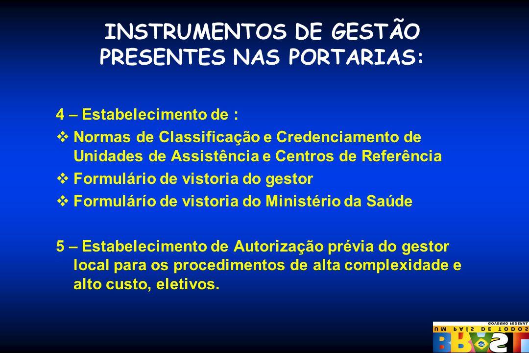 INSTRUMENTOS DE GESTÃO PRESENTES NAS PORTARIAS: 4 – Estabelecimento de : Normas de Classificação e Credenciamento de Unidades de Assistência e Centros
