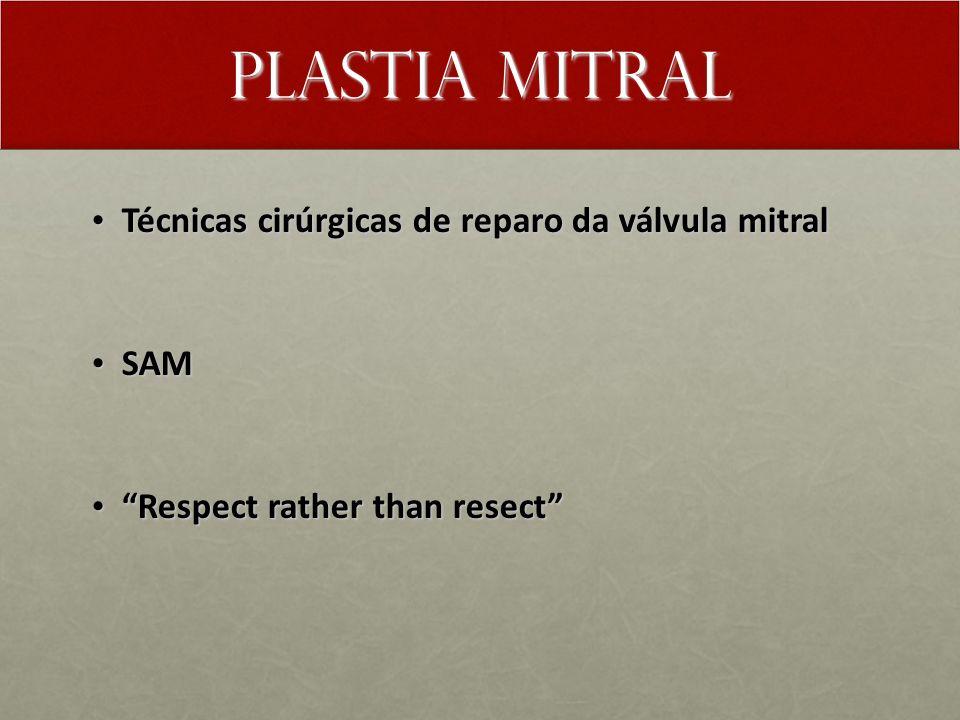 Plastia Mitral Técnicas cirúrgicas de reparo da válvula mitral Técnicas cirúrgicas de reparo da válvula mitral SAM SAM Respect rather than resect Resp