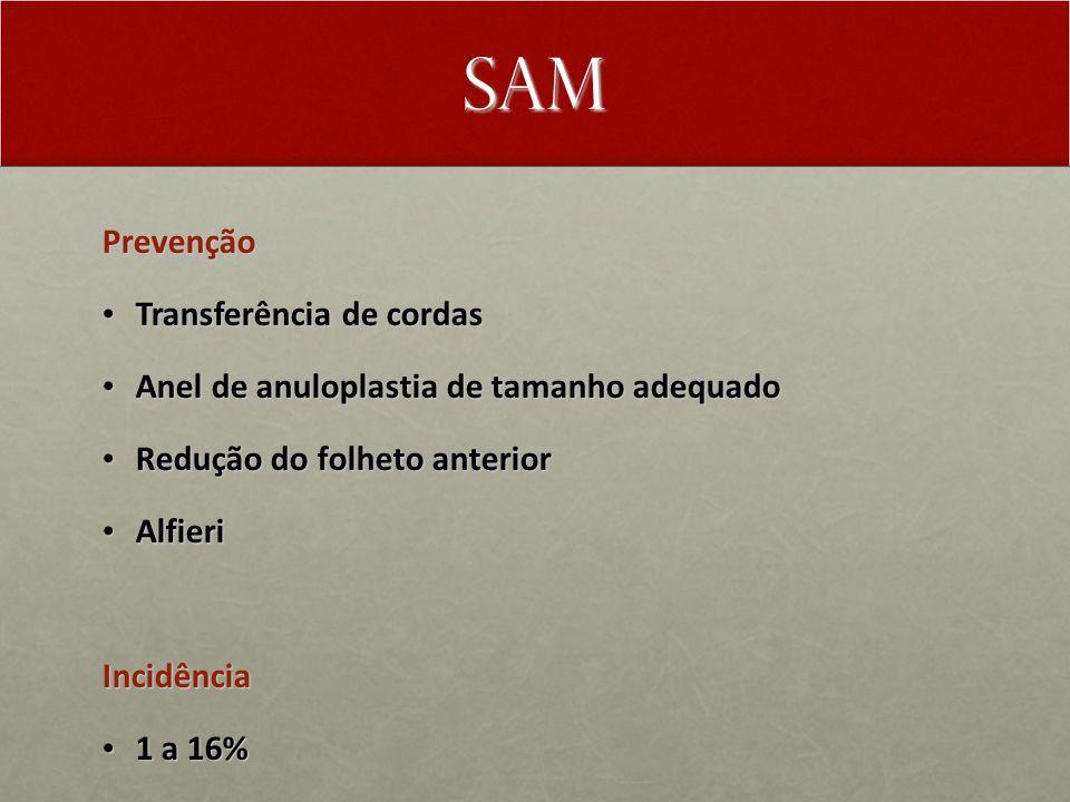 SAM Prevenção Transferência de cordas Transferência de cordas Anel de anuloplastia de tamanho adequado Anel de anuloplastia de tamanho adequado Redução do folheto anterior Redução do folheto anterior Alfieri AlfieriIncidência 1 a 16% 1 a 16%