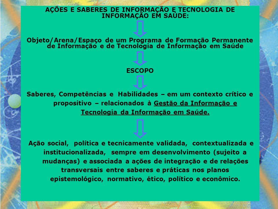 AÇÕES E SABERES DE INFORMAÇÃO E TECNOLOGIA DE INFORMAÇÃO EM SAÚDE: Objeto/Arena/Espaço de um Programa de Formação Permanente de Informação e de Tecnol