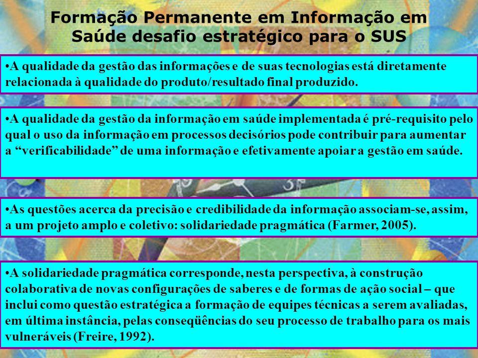 Formação Permanente em Informação em Saúde desafio estratégico para o SUS A qualidade da gestão das informações e de suas tecnologias está diretamente