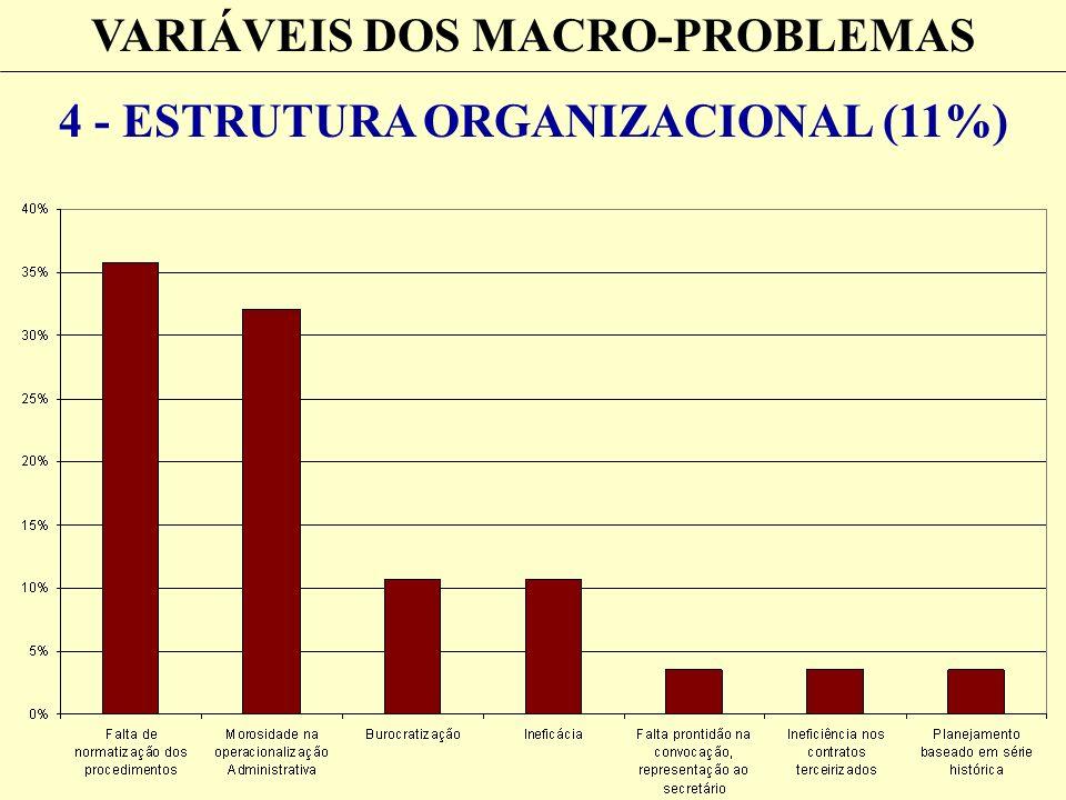 VARIÁVEIS DOS MACRO-PROBLEMAS 4 - ESTRUTURA ORGANIZACIONAL (11%)