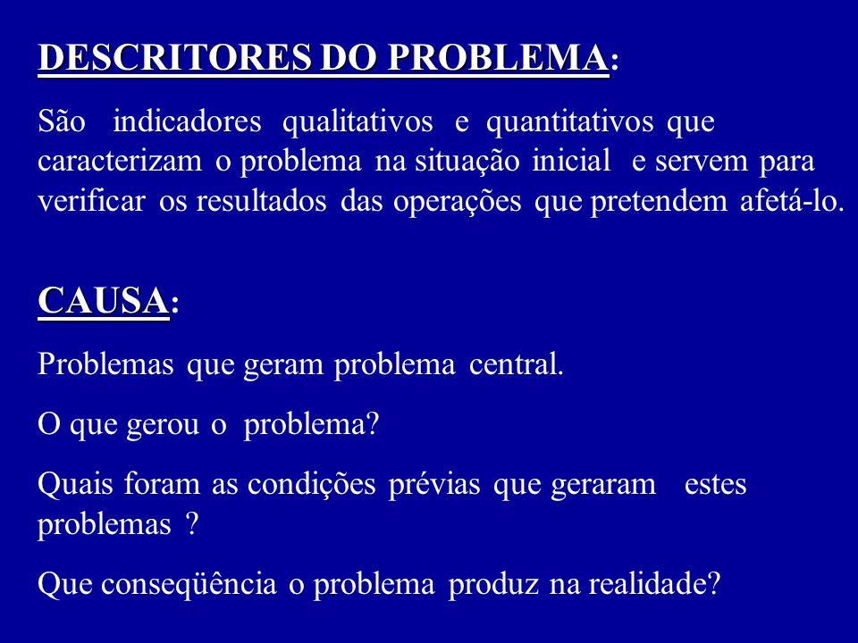 CAUSA CAUSA : Problemas que geram problema central.