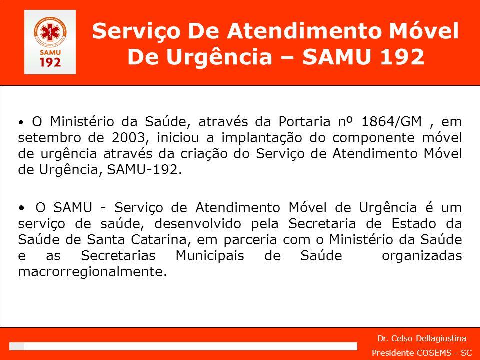 Dr. Celso Dellagiustina Presidente COSEMS - SC Serviço De Atendimento Móvel De Urgência – SAMU 192 O Ministério da Saúde, através da Portaria nº 1864/