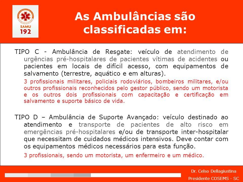 Dr. Celso Dellagiustina Presidente COSEMS - SC As Ambulâncias são classificadas em: TIPO C - Ambulância de Resgate: veículo de atendimento de urgência